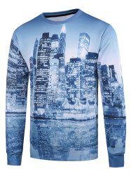 Crew Neck 3D Buildings Printed Long Sleeve Sweatshirt -