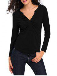 Ruched Long Sleeves T-Shirt -