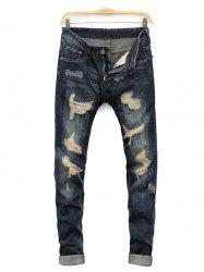 Straight Leg Cat's Whisker Distressed Denim Jeans - BLUE