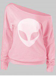 Skew Shoulder Alien Print T-Shirt -
