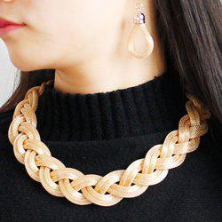 Knitted Alloy Necklace Set - CHAMPAGNE