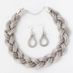 Knitted Alloy Necklace Set - SILVER WHITE