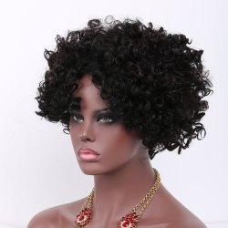 Short Side Bang Afro Curly Prevailing Synthetic Hair Wig