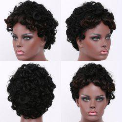 Short Fluffy Curly Side Bang Synthetic Wig -