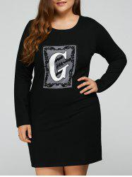 Plus Size Letter Appliqued Long Sleeve Dress - BLACK 5XL