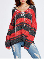 Lace-Up Color Block Baggy Sweater -