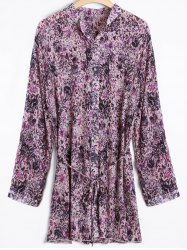 Tiny Floral Belted Plus Size Shirt Dress -