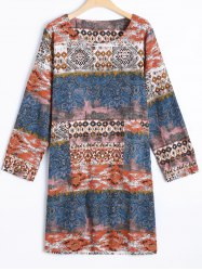 Printed Long Sleeve Vintage Loose Dress