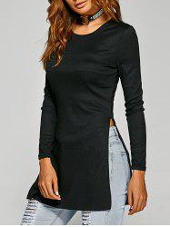 Side Slit Plain Long Sleeve Slimming T-Shirt