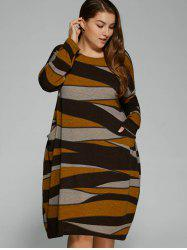 Plus Size Long Sleeve Stripe Casual Dress
