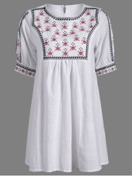 Embroidered Peasant Tunic Dress - WHITE ONE SIZE