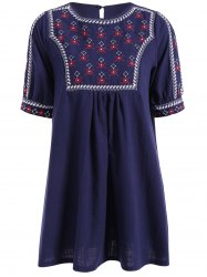 Embroidered Peasant Tunic Dress