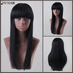 Long Neat Bang Straight Siv Human Hair Wig - JET BLACK