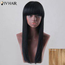 Long Neat Bang Straight Siv Human Hair Wig -