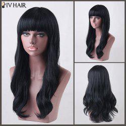 Long Neat Bang Slightly Wavy Siv Human Hair Wig - JET BLACK