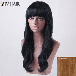 Long Neat Bang Slightly Wavy Siv Human Hair Wig - LIGHT BLONDE 18/27#
