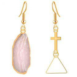 Natural Stone Cross Dissymmetry Drop Earrings - COLORMIX