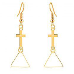 Geometric Cross Triangle Drop Earrings -