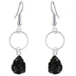 Water Drop Faux Crystal Dangle Earrings