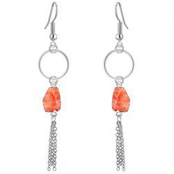 Geometric Stone Tassel Dangle Earrings - ORANGE
