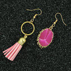 Natural Stone Tassel Asymmetry Drop Earrings -