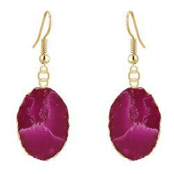 Natural Stone Gilt Edged Embellished Drop Earrings - PURPLE