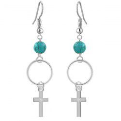 Cross Faux Turquoise Bead Dangle Drop Earrings