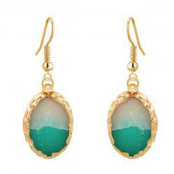 Oval Jade Gold Plated Drop Earrings - EMERALD