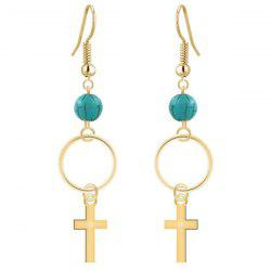 Pair of Cross Turquoise Dangle Drop Earrings