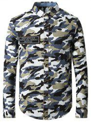 Turn-Down Collar Camo Printed Long Sleeve Shirt