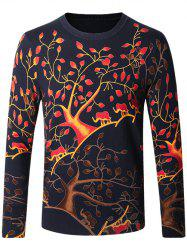 Crew Neck Tree Pattern Color Block Long Sleeve Sweater