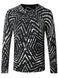 Crew Neck Striped Pattern Color Splicing Long Sleeve Sweater - WHITE AND BLACK 4XL