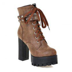 Lace-Up Metal Rivets Ankle Boots - LIGHT BROWN 39