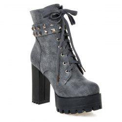 Lace-Up Metal Rivets Ankle Boots