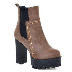 Platform Elastic Band Chunky Heel Ankle Boots
