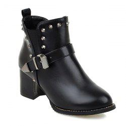 Rivets Elastic Band Buckle Ankle Boots - BLACK 39
