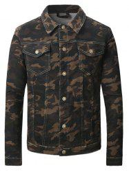Turn-Down Collar Camouflage Pattern Double Pocket Denim Jecket -