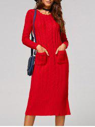 Cable Knit Back Slit Longline Sweater Dress