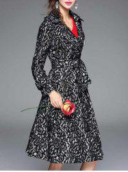 Vintage Lapel Collar Long Belted Lace Skater Coat - BLACK
