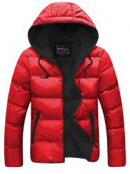 Contrast Zipper Drawstring Hooded Quilted Jacket -