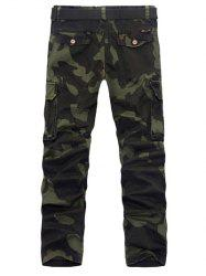 Zipper Fly Plus Size Pockets Embellished Camo Cargo Pants - ARMY GREEN 38