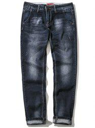 Zipper Fly Plus Size Bleach Wash Straight Leg Jeans - BLACK