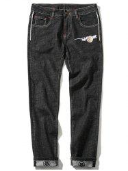 Zipper Fly Plus Size Chinoiserie Embroidered Straight Leg Jeans - BLACK 46