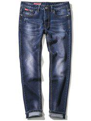 Zipper Fly Plus Size Bleach Wash Embroidery Straight Leg Jeans -