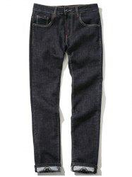 Zipper Fly Plus Size Chinoiserie Embroidered Straight Leg Printed Jeans -