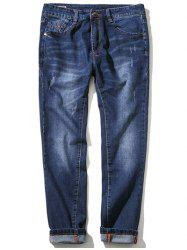 Zipper Fly Plus Size Simple Cat's Whisker Straight Leg Jeans