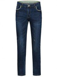 Zipper Fly Plus Size Edging Spliced Straight Leg Jeans