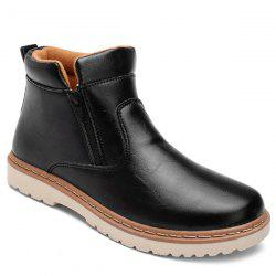 Double Zips PU Leather Ankle Boots -