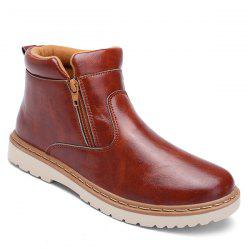 Double Zips PU Leather Ankle Boots - BROWN 44