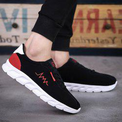 Flock Letters Lace-Up Athletic Shoes - RED WITH BLACK